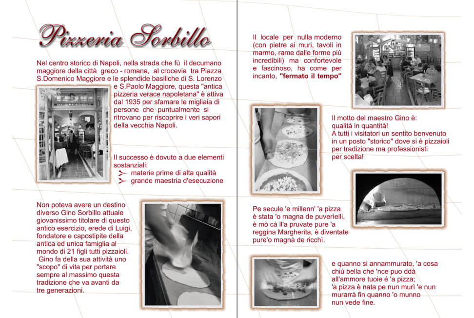 Brochure pizzeria Gino Sorbillo interno
