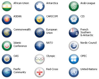Bandiere dal mondo - Antartica ed Org.Internazionali (18 icone)