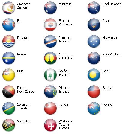 Bandiere dal mondo - Oceania 23 icone