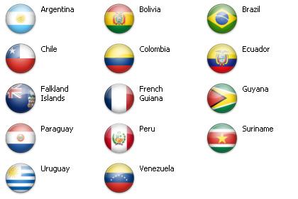 Bandiere dal mondo - Sud America 14 icone